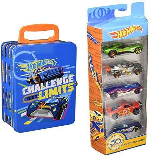 Theo Klein 2883 - Hot Wheels Autosammlerkoffer aus Metall, Spielzeug & Hot Wheels 01806 5er Pack 1:64 Die-Cast Fahrzeuge Geschenkset, je 5 Spielzeugautos, zufällige Auswahl, ab 3 Jahren