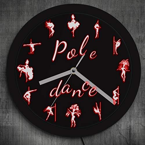 6178f4a5 YJSMXYD Horloge Murale Pole Dance LED Lighting avec Télécommande  Changements De Couleur Night Club Sexy Danseuses Poussins LED Signe Salon  Home ...
