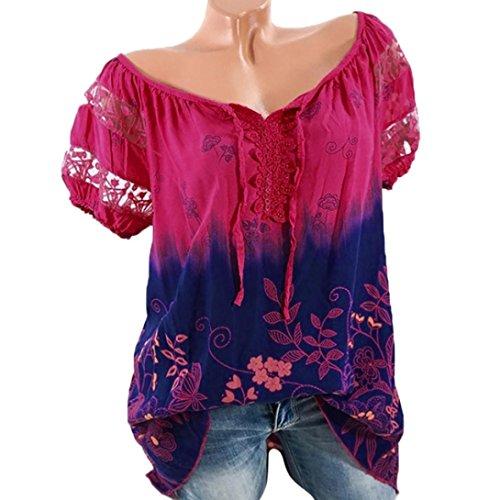 VJGOAL Damen T-Shirt, Damen Mode Kurzarm V-Ausschnitt Spitze Gedruckte Spitze Tops Sommer Lose T-Shirt Bluse (M/40, Heiß Rosa) (Baby-rock-tees)