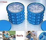 Reefa Ice Genie Cube Maker Eiskübel Silikon Eiswürfel Formen platzsparende Eiswürfelbereiter Sommer Home Party Eiswürfel Schalen GefäßKühler für Wein Bier (Blau 2 Stück)
