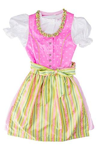 Isar-Trachten® Mädchen Kinderdirndl rosa mit grüner Schürze 3tlg. Trachtenkleid Dirndl, Bluse Schürze - Marken - Dirndl Set- ArtNr.: 44196 (Kittel Kleid Baumwolle Taufe)