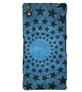 PrintVisa Designer Back Case Cover for Sony Xperia Z3 Compact :: Sony Xperia Z3 Mini (Loopable Seamless Design :: Beautiful Blue star design wallpaper :: Rounded star design :: Colorful stars design :: Excellent stars design)