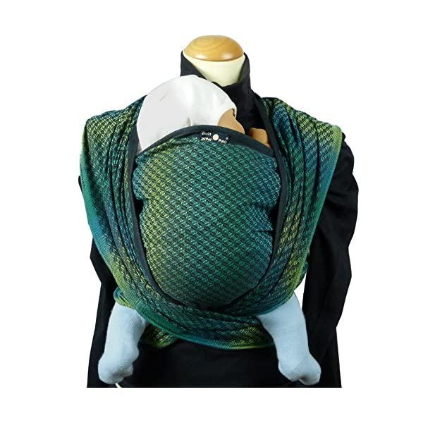 Didymos Woven Baby Wrap, Facett Tethys, Size 7, 520 cm, Black/Green Didymos Various carrying positions, in front, sideways an on the back Special, diagonally stretchable cloth to give optimal support Holds your baby in the anatomically correct posture 2