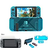 FidgetGear 2pc Screen Protector with Hard Shell Blue Cover Case Bundle for Nintend Switch