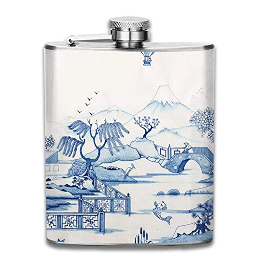 FGRYGF Pocket Container for Drinking Liquor, Blue Willow 7 Oz Printed Stainless Steel Hip Flask for Drinking Liquor E.g. Whiskey, Rum, Scotch, Vodka Rust Great Gift Vintage Blue Willow