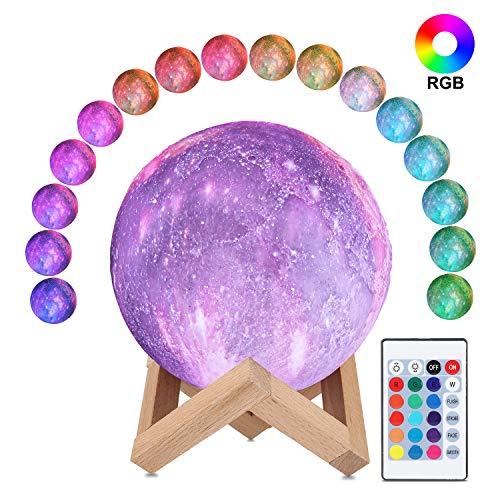 3D Sternenhimmel Mondlampe, ALED LIGHT RGB 16 Farben Raum Mondlicht 15cm Durchmesser Lunar Universum Nachtlicht Lampe mit Fernbedienung USB Aufladung Stimmung Licht für Schlafzimmer, Cafe, Dekoration