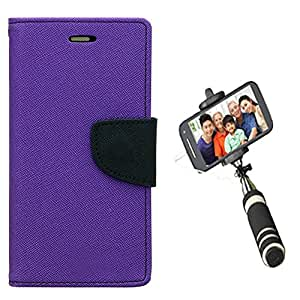 Aart Fancy Diary Card Wallet Flip Case Back Cover For Mircomax A310 - (Purple) + Mini Aux Wired Fashionable Selfie Stick Compatible for all Mobiles Phones By Aart Store