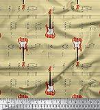 Soimoi Beige Baumwolljersey Stoff Noten & Gitarre