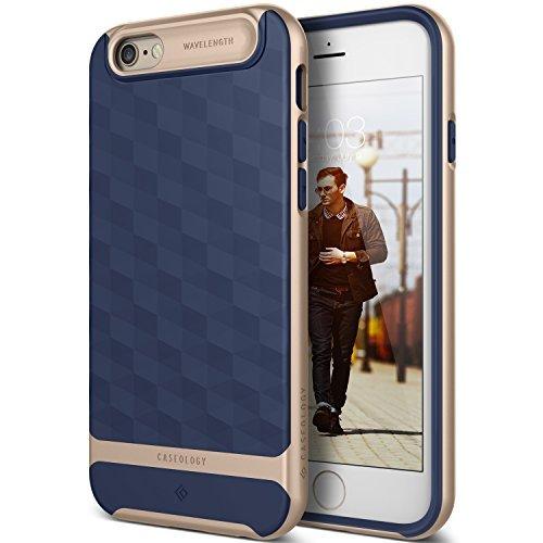 iPhone 6S Hülle, Caseology [Parallax Serie] Schlank Doppelte Schutz Haftung dank Textur geometrischem Design [Navy Blau - Navy Blue] für Apple iPhone 6S (2015) & iPhone 6 (2014)