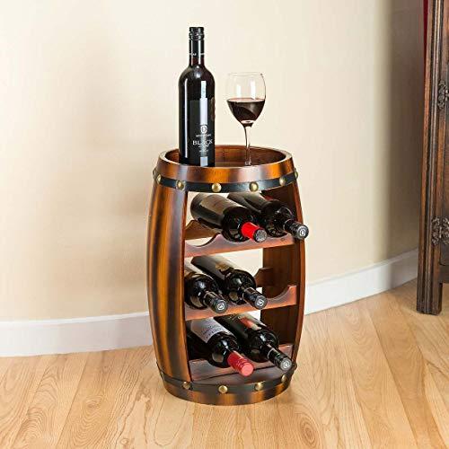 CHRISTOW 8 Bottle Barrel Wine Rack, Wooden Storage Holder Stand, Oak Effect Finish, Free Standing, Display Table, H50cm x W27cm x D27cm