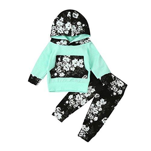 Hirolan Blumen Weich beiläufig Kleinkind Säugling Kleine Babyjunge gedruckt Kleider Set Mit Kapuze niedlich Fotoshooting draussen Sport Tops + Hosen Outfits 6-24 Monat (90cm, Minzgrün) (Multi Kleinkind Bekleidung)