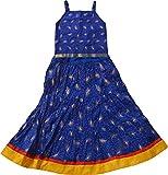 Magnus Girls' Leaf Print Lehenga Choli Suit (KID107, Blue, 2 Years)