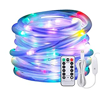 Led Rope Lights, Afufu 10M Dimmable Coloured String Lights USB Powered,100 LED 3M Power Cable, 8 Modes,IP65 Waterproof Strip Fairy Lights for Christmas Decorations