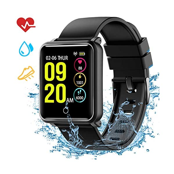 Seneo Reloj Inteligente Hombre, Reloj de Seguimiento de Actividad, Podómetro Deportivo con Monitor de Ritmo Cardíaco Monitor de Sueño para Teléfonos Inteligentes Android o iOS 1