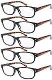 Eyekepper Gafas de lectura retro 5-pack con bisagras de resorte marco negro brazos tortoise +2.50