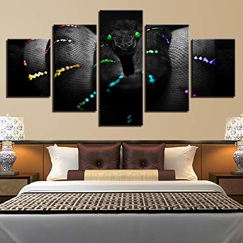 AXYXS Art Home Malerei Modulare Leinwand Plakat 5 Panel Landschaftsraum Wand Hd-Druckbild [Schlange](Ohne Rahmen) - Schlange Leinwand
