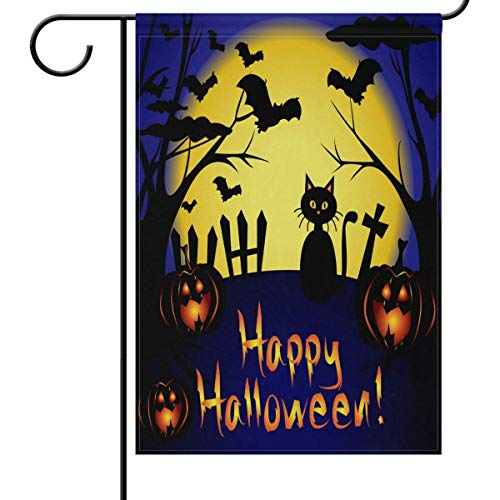 Happy Halloween Pumpkin Cat Garden Flag House Banner, Moon Bats Tree Small Mini Decorative Double Sided Welcome Yard Flags for Holiday Wedding Party Home Outdoor Outside Decor 12.5x18 inches (Happy Halloween De Friends Tree)