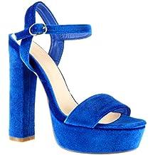 Amazon Scarpe it Tacco Blu Camoscio aar1Hq