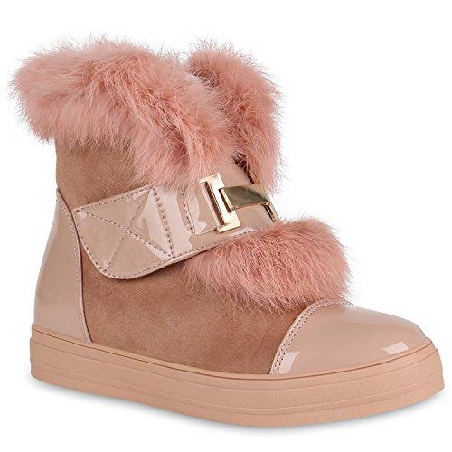 Stiefelparadies Damen Stiefeletten Plateau Boots Warm Gefütterte Schuhe Booties 148690 Rosa Brooklyn 37 Flandell