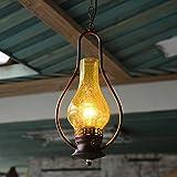 Vintage ancien complexe de création de lampes à huile lampes à kérosène antiques allées restaurant café bar lustre lampe,W200mm*H980MM + brun rouge balayer,verre craquelé