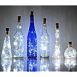 6 Packung Weinflasche Kork Lichterkette, Akku Powered LED Flaschenlicht Lichterketten, 78in / 2m, 20 LED Silber Coated Kupferdraht Flaschenlichter für Party, Weihnachten, Halloween, Hochzeit, Dekoration (Weiß)