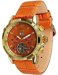 Lindberg & Sons Reloj Automático piraeus Esfera de Color Naranja Y Correa De Piel