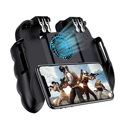 Mobile Game-Controller 4 Trigger mit Kühlventilator für PUBG/Call of Duty/Fotnite [6 Finger Bedienung] L1R1 L2R2 Gaming Grip Gamepad Mobile Controller Trigger für iOS Android Phone 11,9-16,5 Zoll