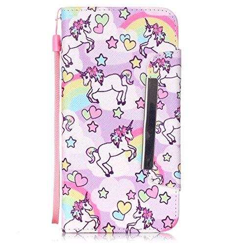Kio iPhone 5S/SE, motivo: dipinto di viso, custodia a portafoglio con cinghia, per iPhone 5S e SE, in pelle PU, a portafoglio, con funzione di supporto, chiusura magnetica, con porta carte di credito, P-05