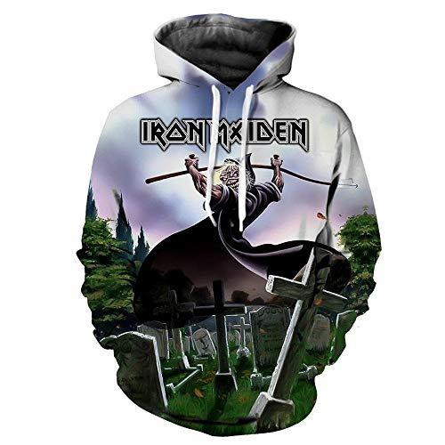 BINGXINK Kapuzenpullover,3D-Digitaldruck Iron Maiden Band Für Herren, Modischer, Cooler Langarm-Hoodie @ XL_Carnival -
