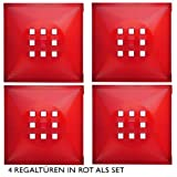 4er Set Designer Regaltür als Facheinsatz ca. 33,6cm x 33,6cm für IkeaRegal expedit * Rot