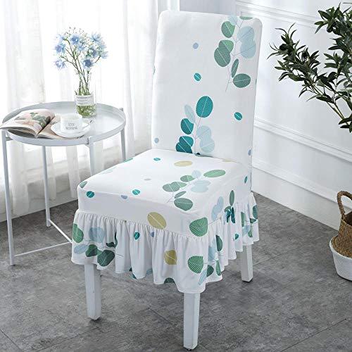 Jasken yyqx container Stuhlabdeckung nach Hause elastisch verbunden Hotel Esstisch und Stuhl zurück modernen minimalistischen europäischen Stoff Sitzbezug Hocker Set, Rock EIN frisches Blatt 6 -