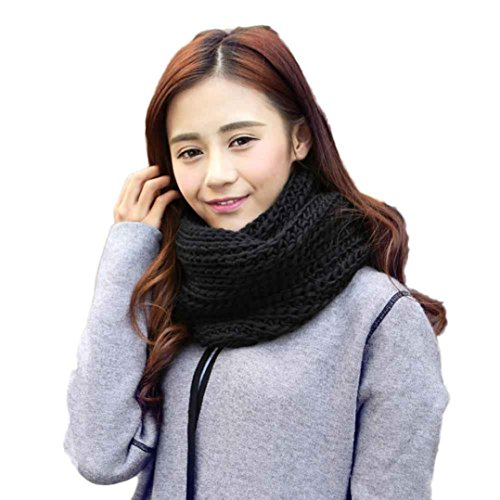 ❤️• •❤️ LUCKYCAT Warmer Strickkragen für Damen Mode warme Knit Neck Circle Wollmischung Gugel Snood Mehrzweck Wolle Schal Ladies warm Strick Schal (A) (Poncho Gugel,)