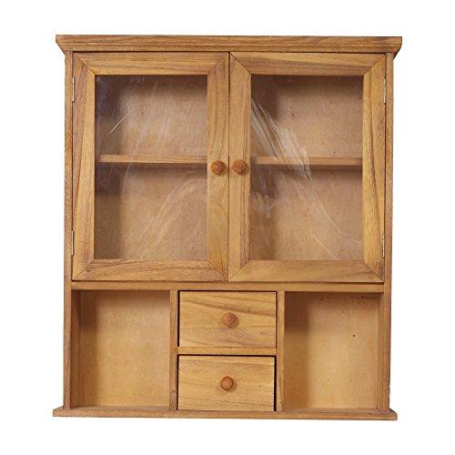 Rebecca mobili re4199 mobiletto da parete, vetrinetta da muro con 2 cassetti e 2 sportelli, legno scuro plexiglass, stile shabby, 62 x 56 x 15 cm