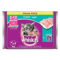 Whiskas Tuna in Jelly, Pouch for Kitten (2-12 Months), Multi Pack, 85 gm x 4 Pack
