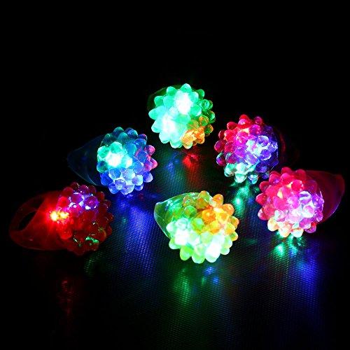 LED Licht Fingerring Licht,18 Pack Led Gummiringe für Party bevorzugt Jelly Bubble Leuchten Finger Spielzeug Sisit (Mehrfarbig)