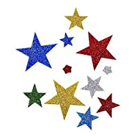 Lalang Multi Colour Self Adhesive Stars Sticker Glitter and Shimmer Stickers, Fit for Nursery Decor, Home School Teaching Reward Sticker (65pcs star)