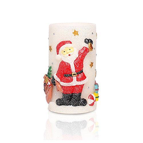 Weihnachtskerze Weihnachtsmann Flameless elektronische LED-Kerzen mit Timer, Weihnachtsgeschenk Ostersonntag , Batteriebetrieb , 4 & 8 Stunden Timer, 3x6 Zoll