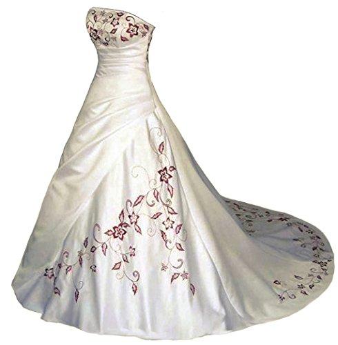 Vantexi Trägerlos Rot Stickerei Satin Hochzeitskleid Brautkleid Elfenbein Größe 48