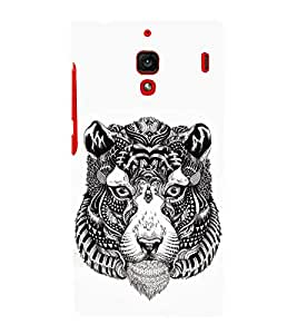 FUSON Tiger Head Silhouette 3D Hard Polycarbonate Designer Back Case Cover for Xiaomi Redmi 1S :: Xiaomi Hongmi 1S