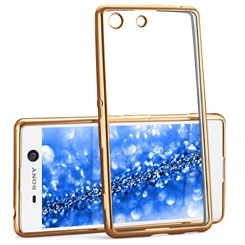 Chrome Case für Sony Xperia M5 | Transparente Silikon Hülle mit Metallic Effekt | Dünne Handy Schutz Tasche von OneFlow | Back Cover in Gold