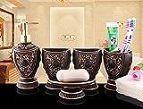 Yiyida Royal Retro 5 tlg. Badezimmer Set Bad Accessoire Set WC Set ,Schwarz