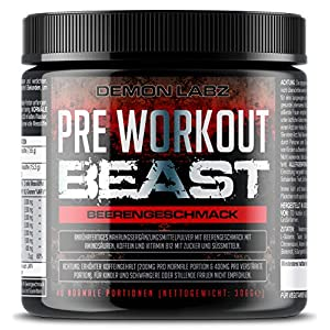 Pre Workout Beast – Hardcore Pre Workout Booster mit Kreatin Monohydrat, Beta Alanin, Koffein und Glutamin (Beerengeschmack – 306g – 40 Portionen)