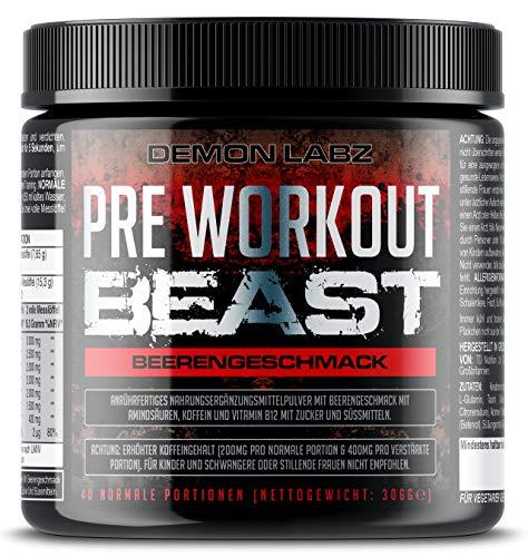 Pre Workout Beast (Beerengeschmack) - 40 Portionen (300g) - Hardcore Pre Workout Booster mit Kreatin Monohydrat, Koffein, Beta Alanin und Glutamin - Pump Pre-workout Creatin