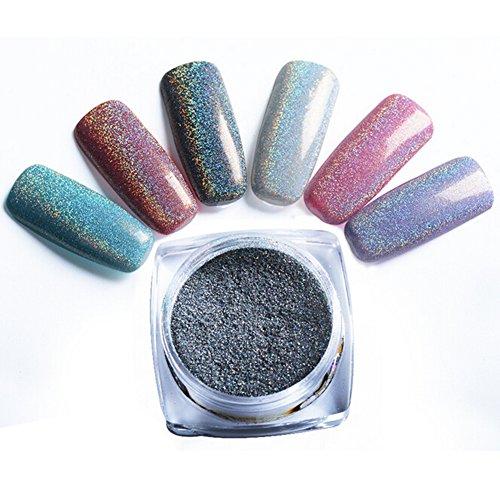 Demarkt 6 Boîtes Colorful Miroir Paillette Poudre des Ongles Nail Art Chrome Pigment Scintillement Poudre Manucure (2g/boîtes)