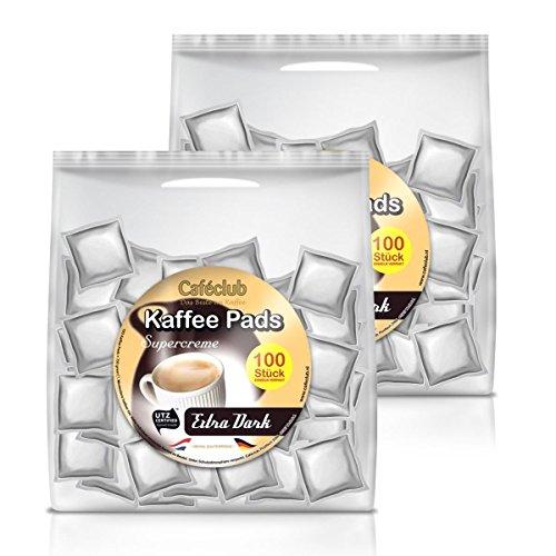 2x Cafeclub Extra Dark Kaffeepads Megabeutel je 100 stk. dunkle Röstung einzeln verpackt
