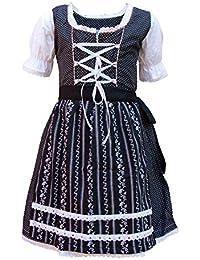 MS-Trachten Kinder Dirndl Trachtenkleid Lotti schwarz-weiß Punkte