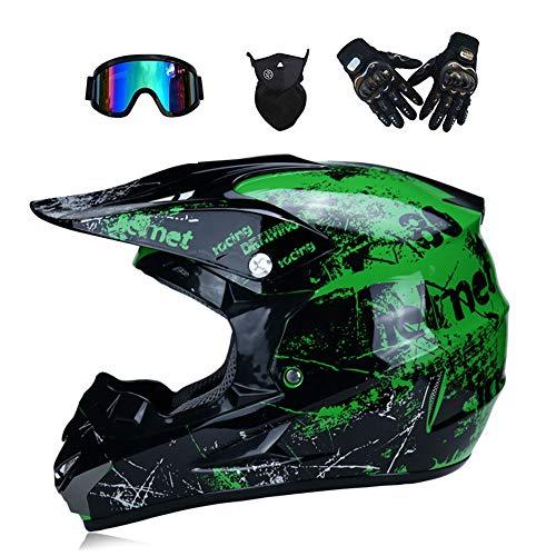 Motorrad-Helm Dirt Bike Helm Stiefel Sticker Decal Accessoires Full Anti Fog Sheets Action Camera Kit Adult Downhill Dirt Bike MX ATV Motocross für Erwachsene Männer Frauen,XL (Kawasaki Dirt Bike Handschuhe)