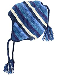 WOOL KNIT EARFLAP HAT WITH BRAIDED TASSELS