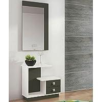 LIQUIDATODO ® - Mueble de recibidor moderno y barato en color blanco/grafito - star