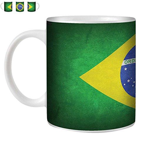 STUFF4 Tasse de Café/Thé 350ml/Brésil/brésilien/Drapeaux Vintage/Céramique Blanche/ST10